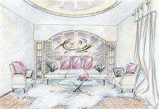 Esboço do interior da sala de estar Fotos de Stock Royalty Free