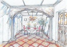 Esboço do interior da sala de jantar Fotos de Stock Royalty Free