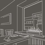 esboço do interior de um espaço de trabalho perto da janela no fundo cinzento Fotos de Stock