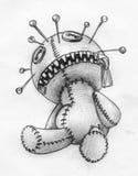 Esboço do lápis da boneca do vudu ilustração do vetor