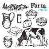 Esboço do leite da vaca e da natureza Fotos de Stock Royalty Free