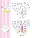 Esboço do livro de coloração: borboleta Fotografia de Stock