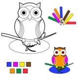 Esboço do livro de coloração: coruja Fotos de Stock