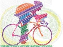 Esboço do macho em uma bicicleta ilustração stock