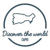 Esboço do mapa de Capri O vintage descobre o mundo Fotografia de Stock