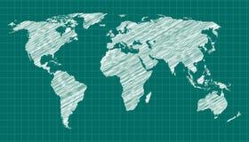 Esboço do mapa de mundo Imagem de Stock Royalty Free