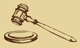 Esboço do martelo do juiz Fotografia de Stock