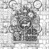 Esboço do mecanismo de Steampunk ilustração stock