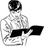 Esboço do menino que lê atenta um grande caderno Imagem de Stock