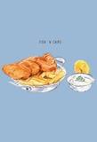 Esboço do peixe com batatas fritas Culinária britânica Série do alimento da rua Grea ilustração do vetor