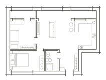 Esboço do plano do apartamento de dois quartos Fotografia de Stock Royalty Free