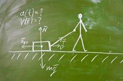Esboço do problema físico no quadro-negro da escola Imagens de Stock