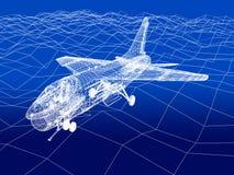 esboço do quadro do fio 3d da mosca do zangão F-16 sobre o mar Fotografia de Stock Royalty Free