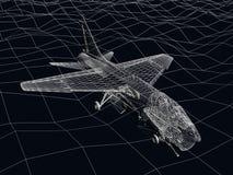 esboço do quadro do fio 3d da mosca do zangão F-16 sobre o mar Imagens de Stock Royalty Free