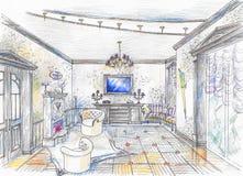 Esboço do salão com chaminé Fotos de Stock Royalty Free