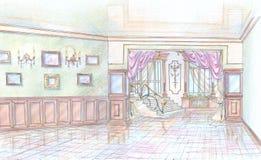 Esboço do salão da construção com escada Foto de Stock Royalty Free