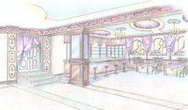 Esboço do salão do restaurante com barra Fotos de Stock
