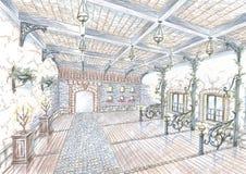 Esboço do salão do restaurante no estilo da rua da cidade Imagem de Stock