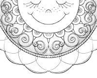 Esboço do sol de sorriso ilustração do vetor