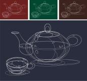 Esboço do Teapot e dos copos Fotografia de Stock Royalty Free