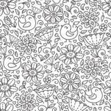 Esboço do teste padrão floral Imagens de Stock