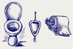 Esboço do toalete ilustração stock