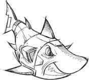 Esboço do tubarão do robô do Cyborg Imagens de Stock