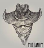 Esboço do vaqueiro ou bandido With Bandanna Fotos de Stock Royalty Free