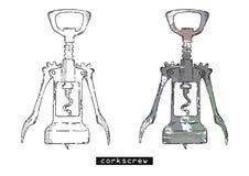 Esboço do vetor do Corkscrew Fotos de Stock
