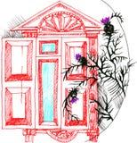 Esboço do vetor da ilustração a janela e o cardo Imagem de Stock Royalty Free