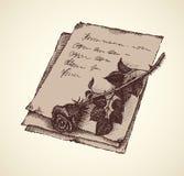 Esboço do vetor das rosas na letra velha ilustração stock