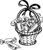 Esboço do vetor de uma cesta com doces imagem de stock royalty free