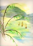 Esboço do Watercolour de barcos de pesca orientais Fotografia de Stock