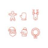 Esboço dos ícones do Natal Fotos de Stock