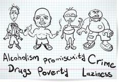 Esboço dos alcoólicos, dos viciados em drogas e dos sem abrigo ilustração stock