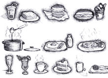 Esboço dos alimentos Imagem de Stock