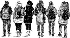 Esboço dos amigos da escola que vão em casa ilustração royalty free