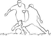 Esboço dos jogadores de futebol Foto de Stock Royalty Free