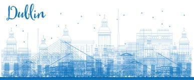 Esboço Dublin Skyline com construções azuis Foto de Stock Royalty Free