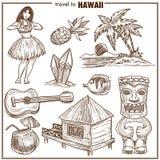 Esboço famoso do vetor dos símbolos do curso de Havaí Fotografia de Stock Royalty Free