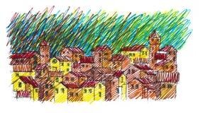 Esboço feito à mão que é inspirado pelo italiano e as paisagens e as vilas de Toscânia ilustração do vetor