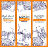 Esboço gorduroso do fast food e do café Imagens de Stock Royalty Free