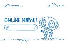 Esboço horizontal em linha da inteligência artificial do conceito do comércio da e-compra do ajudante do bot do Web site do merca ilustração royalty free