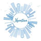 Esboço Houston Skyline com construções azuis ilustração stock