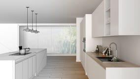 Esboço inacabado do projeto da cozinha branca e de madeira minimalista moderna com ilha e a janela panorâmico grande, parquet, ilustração royalty free