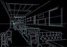 Esboço interior linear do café no fundo preto Imagem de Stock