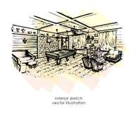 Esboço interior tirado mão Projeto Home estilo de Provence da zona do bilhar Foto de Stock Royalty Free