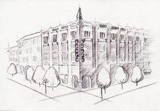Esboço isolado da tinta do desenho de esquema construção monocromática Imagens de Stock