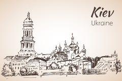 Esboço Kiev de Sophia Cathedral de Saint Kiev-Pechersk Lavra ilustração do vetor