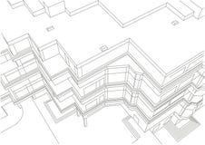 Esboço linear arquitetónico da construção Fotos de Stock